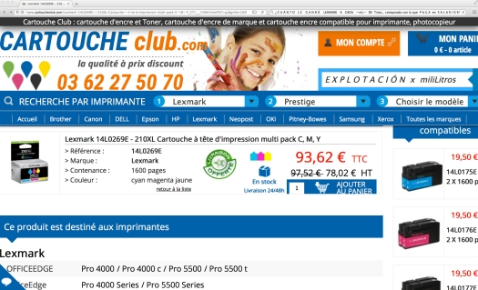 Uso justo de un club de cartuchos por los interwebs. Vía: www. cartouch club . com