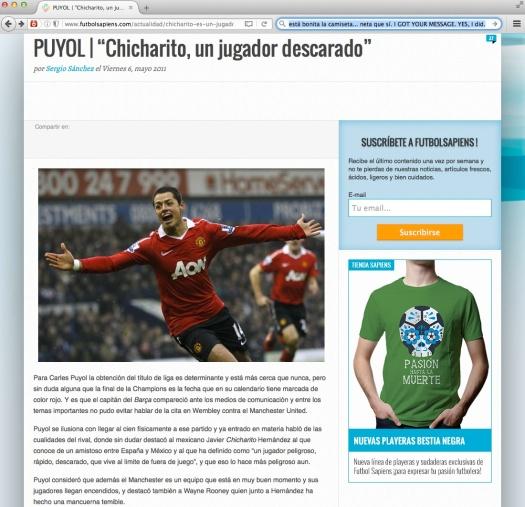 La gambetta y la pasión de un descarado. | Uso justo de TODOS los medios. Vía: http ://www .futbolsapiens .com /actualidad /chicharito-es-un-jugador-descarado/
