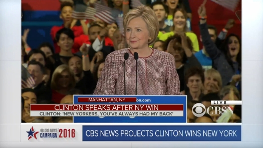 In an Empire State of Mind, Secretary Clinton walked onto the stage and thanked her home town.
