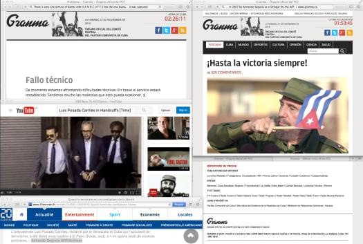 En Cuba, la ocasión del departo de La Isla, del Comandante Fidel Castro, provoco una sobre carga de usuarios en la página oficial del Partido Comunista de Cuba. | En el marco de arriba, el comandante ondea una bandera cubana A UNO de Dos TERRORISTAS de los Estados Unidos [por virtud de la Agencia Central de Inteligencia, en Washington D.C.] que han sido capturados con ESPOSAS en las manos… Esposas en Español es un Falso Amigo de HandCuffs en Inglés. || Uso justo de todos los medios.