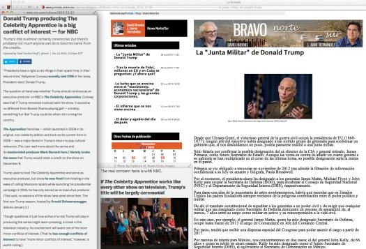 Time-delayed content complimented by Ezra Klein's news, and only as a time-marker. | Dicho de otra manera: Uso justo de todos los medios para medir en rendimiento y los paralelismos simbioticos de la comunicación y las políticas del presidente electo de los EEUU: Donald Trump